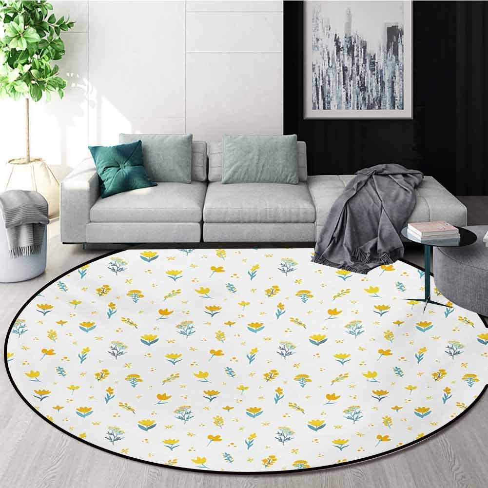 RUGSMAT Yellow and White Computer Chair Floor Mat,Hand Drawn Wildflowers Ornate Botanical Design On Dotted Backdrop Printed Round Carpet for Children Bedroom Play Tent,Diameter-55 Inch