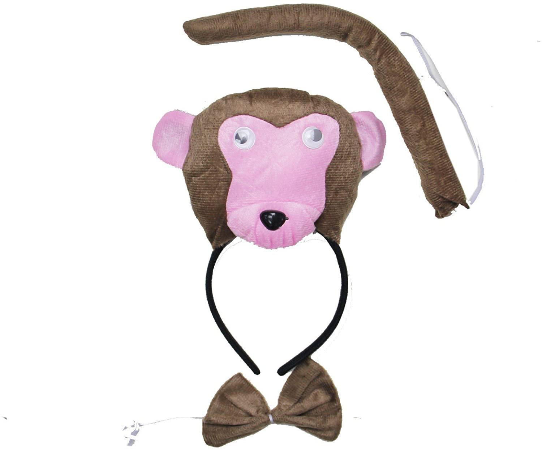 Kirei Sui Monkey 3D Headband Bowtie Tail 3pcs Costume Brown