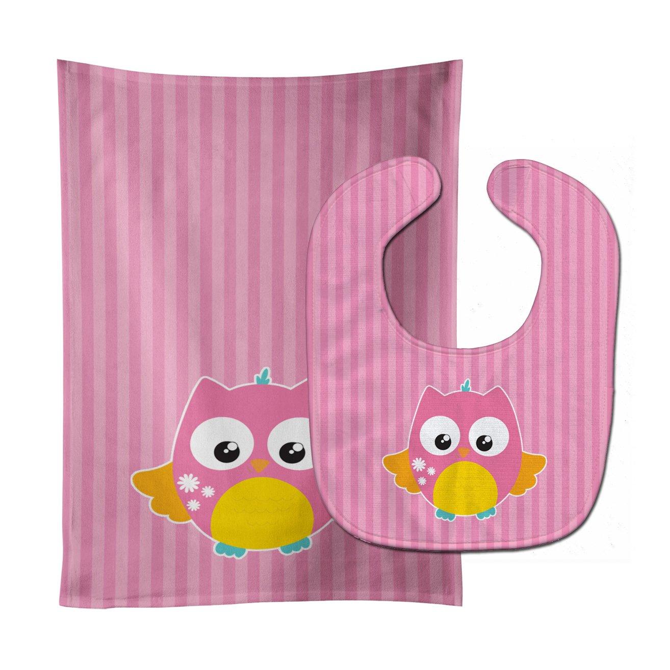 Caroline's Treasures BB9114STBU Owl and Pink Stripes Baby Bib & Burp Cloth, 11 x 18