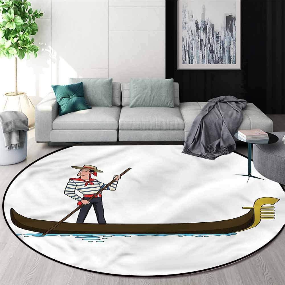 RUGSMAT Cartoon Modern Flannel Microfiber Non-Slip Machine Round Area Rug,Gondola in Venice Love Non-Slip Soft Floor Mat Home Decor Diameter-51