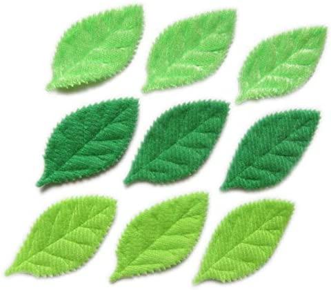 YYCRAFT Pack of 90 Padded 2-Faced Felt Velvet Leaf Appliques/Craft Green