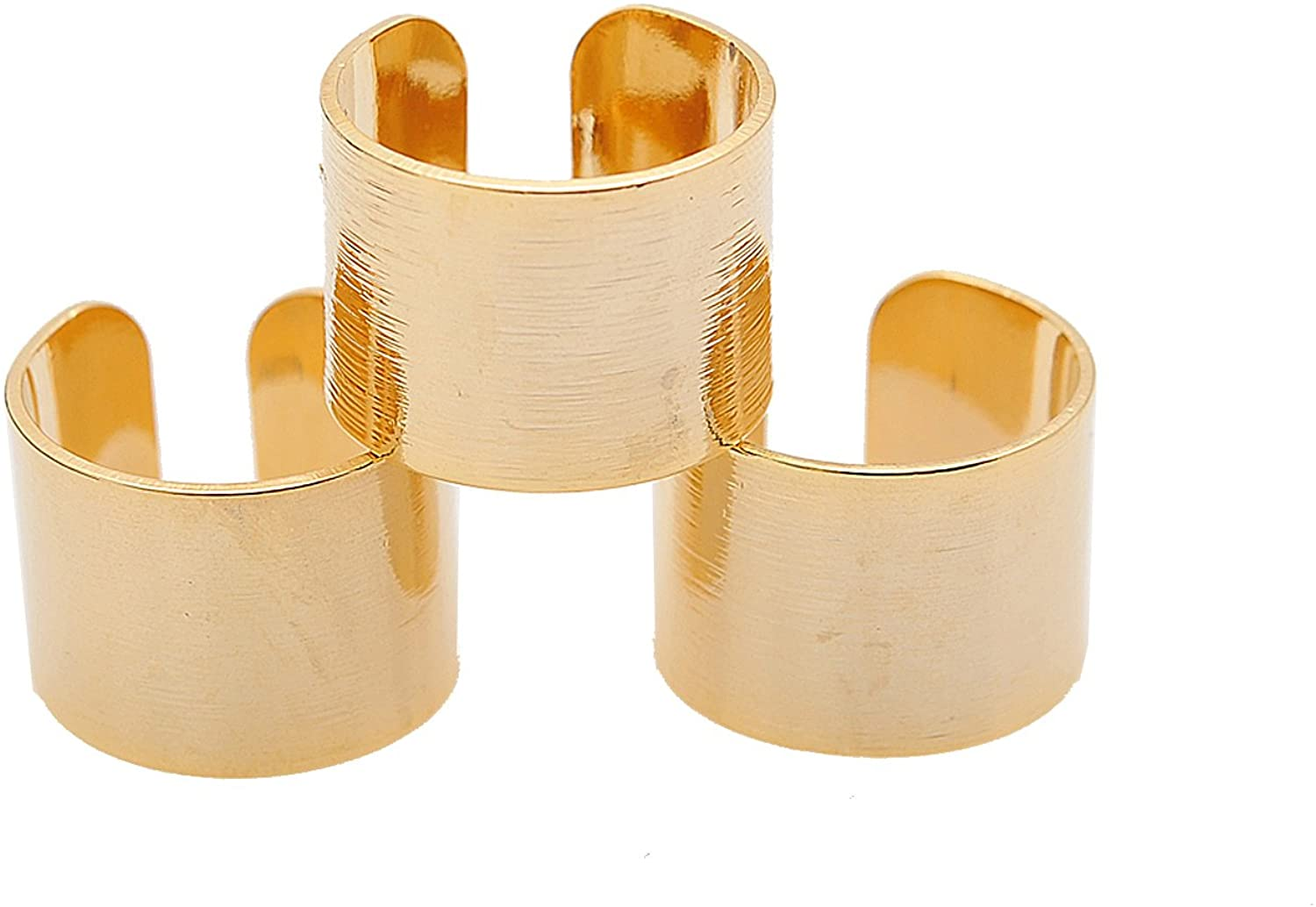 Spinningdaisy Adjustable Brushed Metal Tube Knuckle Ring Set of 3 (Gold Plated)