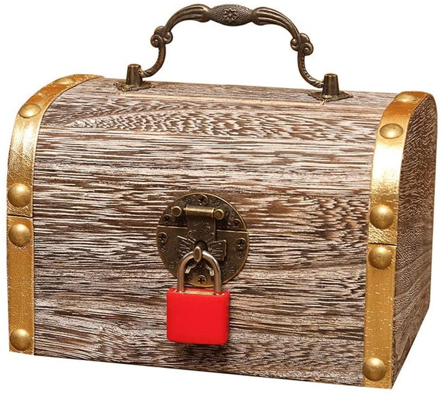 LOVELY Creative Piggy Bank Creative Change Piggy Bank Wooden Money Box Gift with Lock Money Storage Small Wooden Box Change Storage Box (Size : 171312.5CM)
