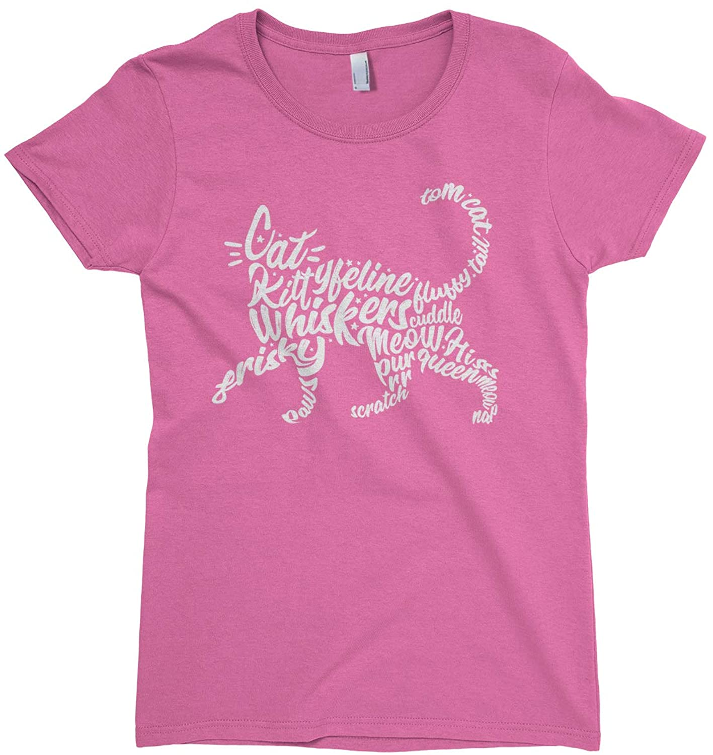 Threadrock Big Girls' Cat Typography Fitted T-Shirt