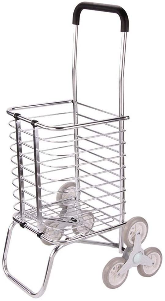 Monkibag Shopping Grocery Cart Aluminum Shopping Cart Supermarket Shopping Cart Folding Shopping Cart Hand Luggage Cart (Color : Silver, Size : 423991cm)
