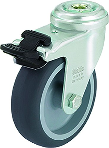 J.W. Winco 500GRC8/FI Caster, Wheel: Gray Thermoplastic Rubber, Smooth Rolling, Non-Marking Tire, 85 Degree Shore A Hardness, Bonded to Polypropylene Wheel Center
