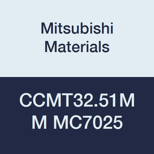 Mitsubishi Materials CCMT32.51MM MC7025 CVD Coated Carbide CC Type Positive Turning Insert with Hole, Rhombic 80°, 0.375