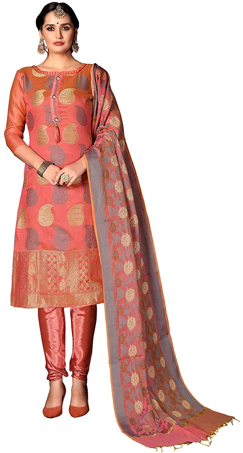 Heavy Silk Banarasi Weaving Work Unstitched Dress Material for Women Peach