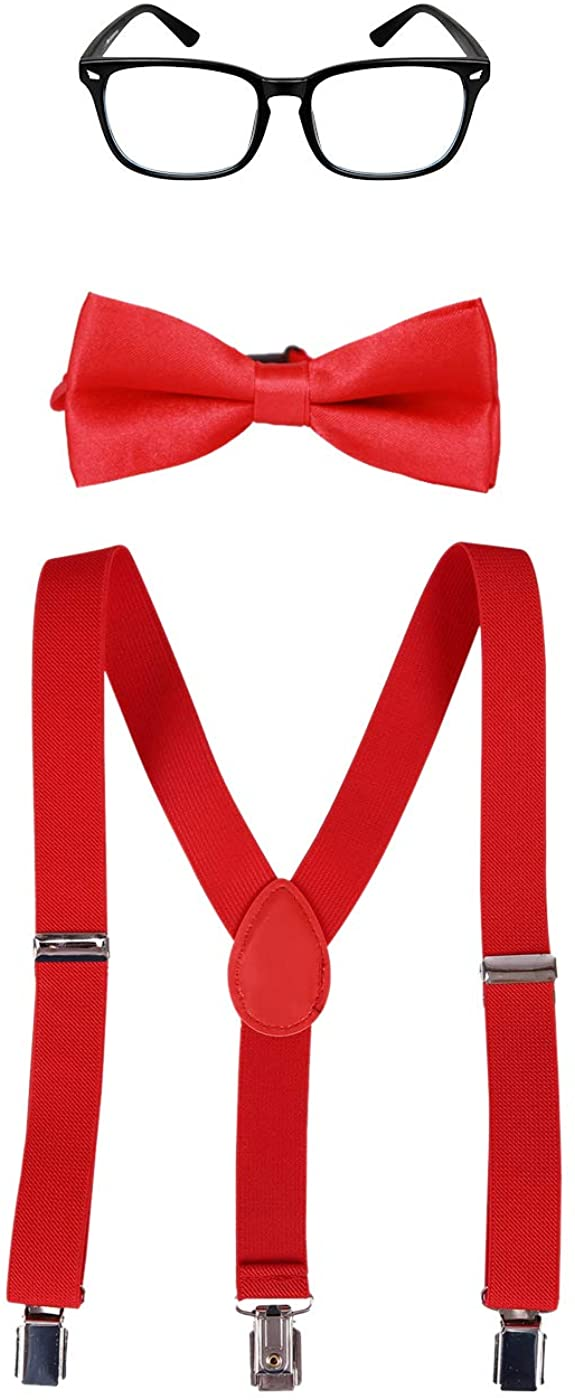 HDE Nerd Costume for Kids Halloween Costume Accessory Set Bow Tie with Suspenders and Glasses for Boys and Girls