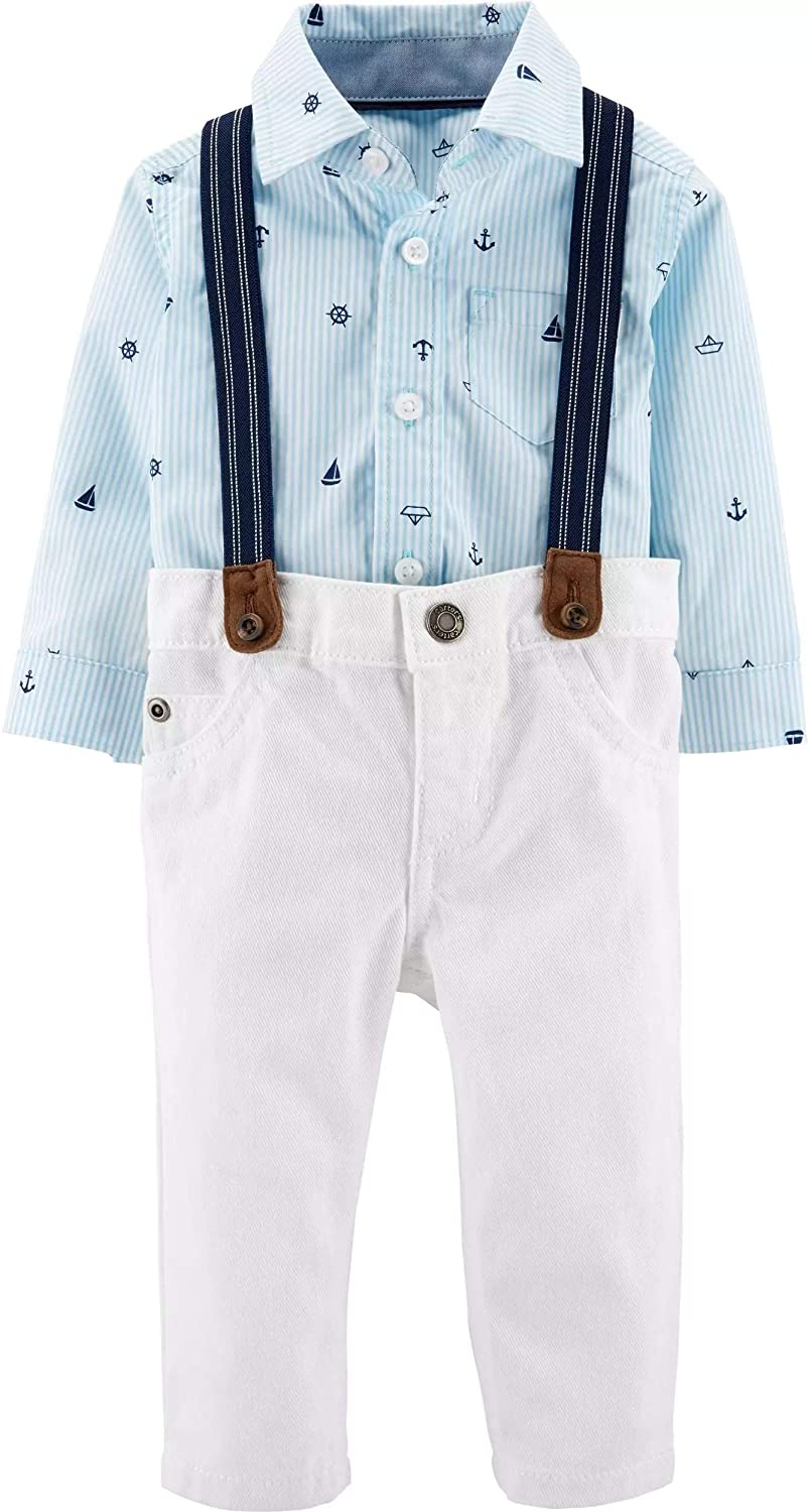 Carters Baby Boys 3 Piece Dress Me Up Set (6 Months, Blue/White)