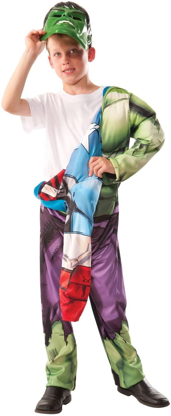 Marvel Avengers 2-In-1 Muscle Chest Hulk/Captain America Deluxe Costume, Medium