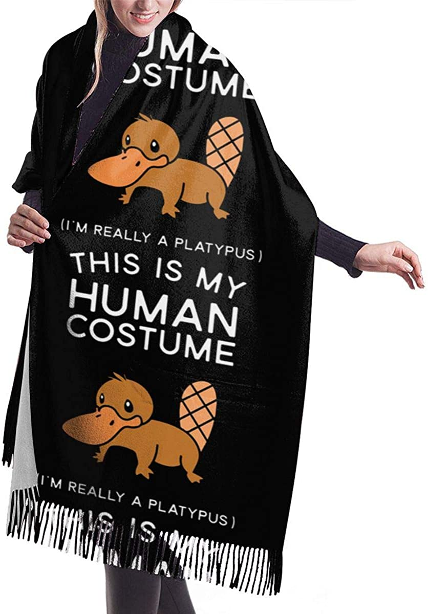 This Is My Human Costume I'm Really A Platypus Winter Scarf Cashmere Scarves Stylish Shawl Wraps Blanket