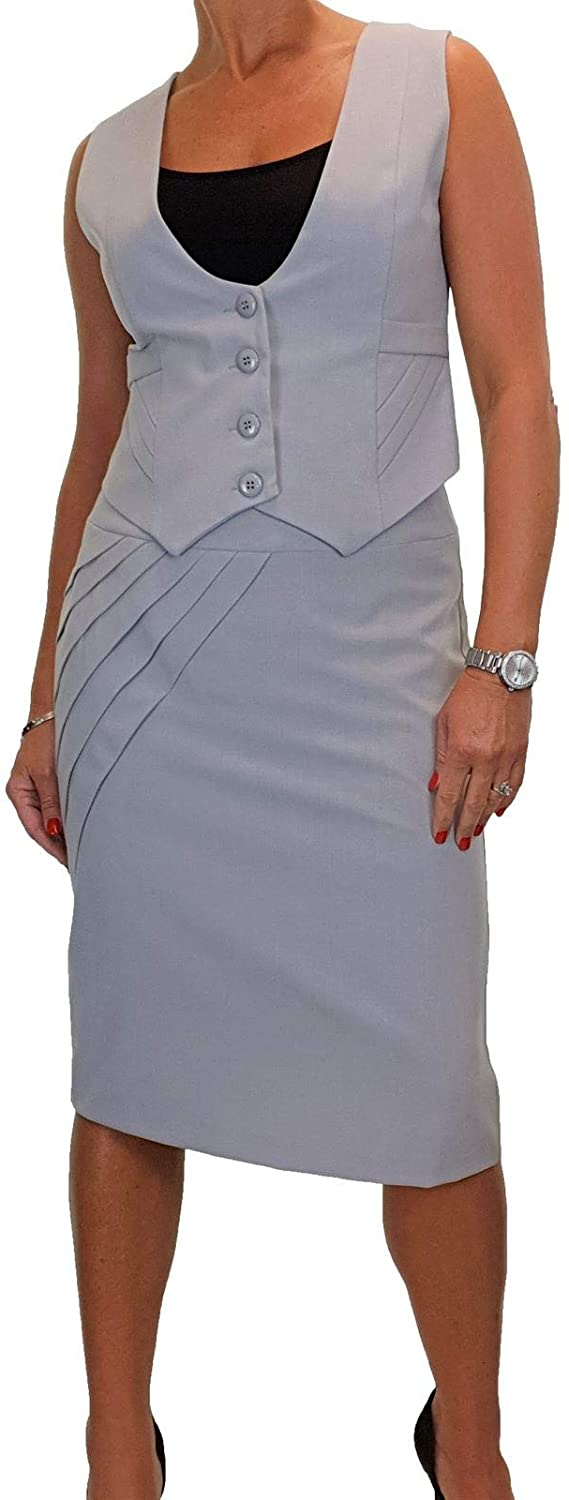 icecoolfashion Womens Detailed Waistcoat Skirt Suit Fully Lined Evening Business Office 6-14