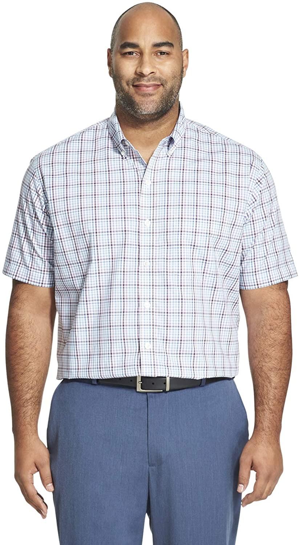 Van Heusen Men's Big and Tall Flex Short Sleeve Button Down Tattersal Shirt