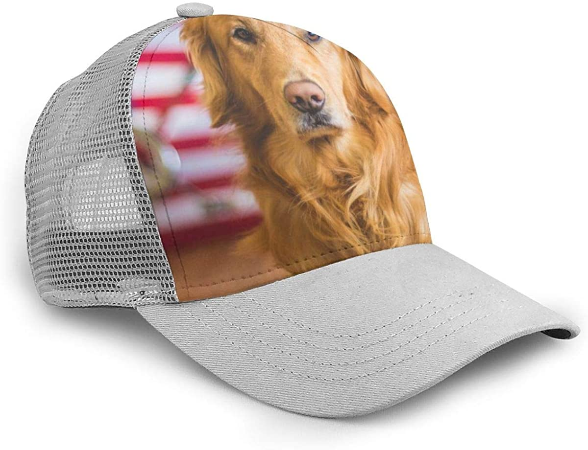 Golden Retriever Baseball Daddy Hat Grid Summer Adjustable Baseball Cap