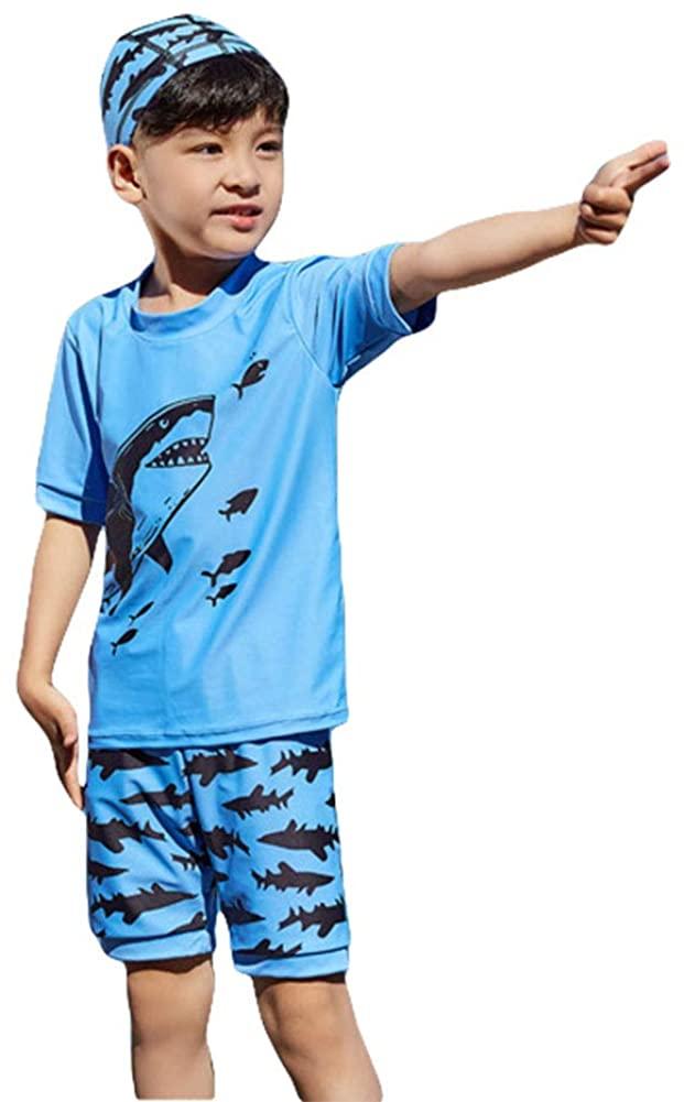 Baby Little Boys Two Piece Swimsuit Set Kids Shark Bathing Suit Rash Guards Swimwear Sunsuit UPF 50+