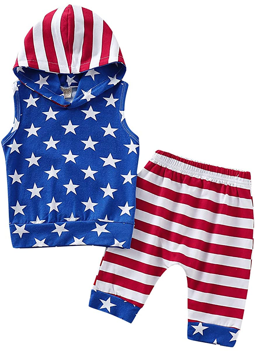 Toddler Baby Boy July 4th Outfits Sleeveless Star Print Hoodie Top+Stripe Shorts Pants Summer Clothes Set