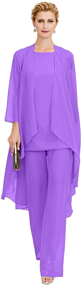 Women's Formal Lavender 3 Pieces Chiffon Mother of The Bride Dress with Outfit Wedding Party US6