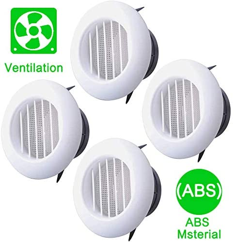 4 Inch Soffit Vent for Exhaust Fan by Wadoy with Screen for Bathroom Exhaust Fan, 4 Packs Round ABS Louver Grille Cover White, Eve Dryer Vent