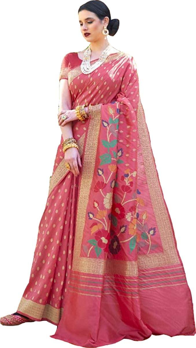 D&D Fashion Banarasi Saree Latest Saree Designer Silk Sari Party Wear Handloom Weaving Silk Saree Silk Sari 299 Pink