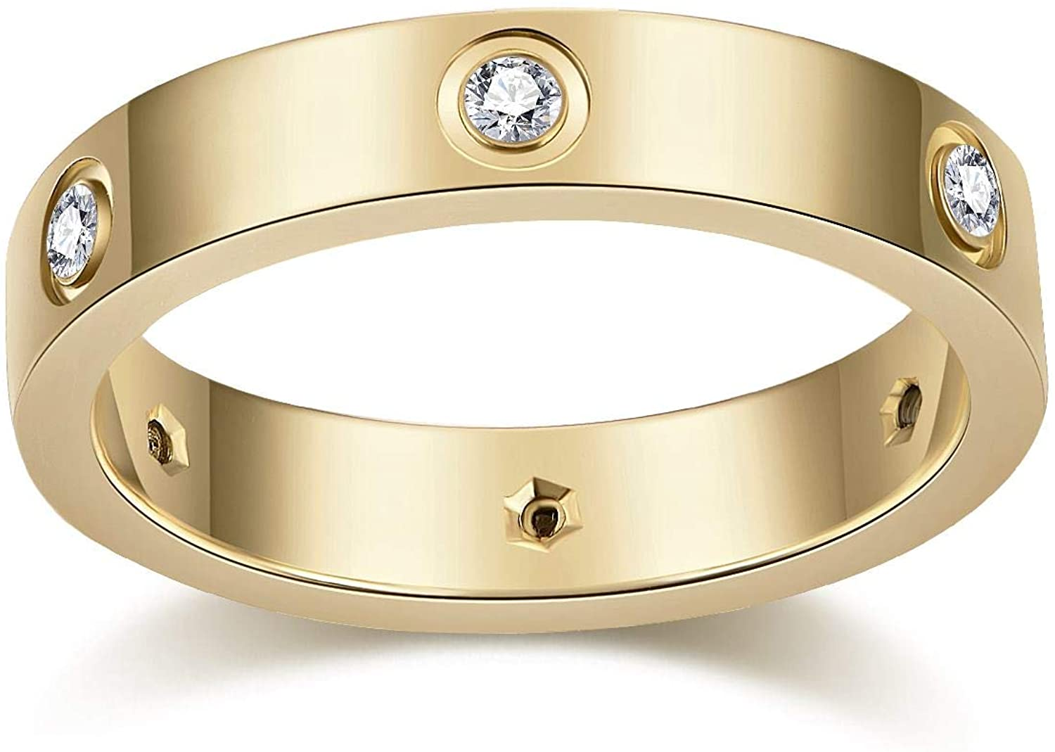 AMA 18K Gold Plated Love Rings Lifetime for Women Valentines Day Promise Engagement Wedding Best Gifts for Love (Gold, 6)