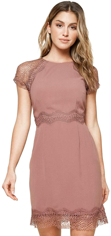 Sugar Lips Women's Decente Mixed Lace Mini Dress
