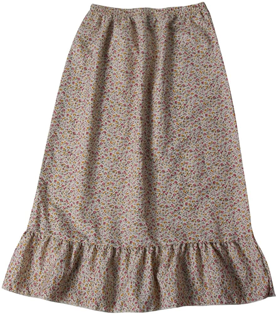 Girls Calico Pioneer Peasant Costume Skirt (Girls X-Large 10/12, Cream Calico)