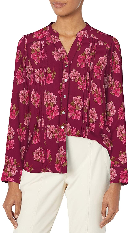 Nanette Nanette Lepore Women's Long Sleeve Printed Button-Down with Mandarin Collar & Pintucks