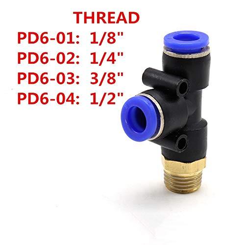 Ochoos Air Compressor Coupler 3 Way 6mm OD Hose Tube 1/8
