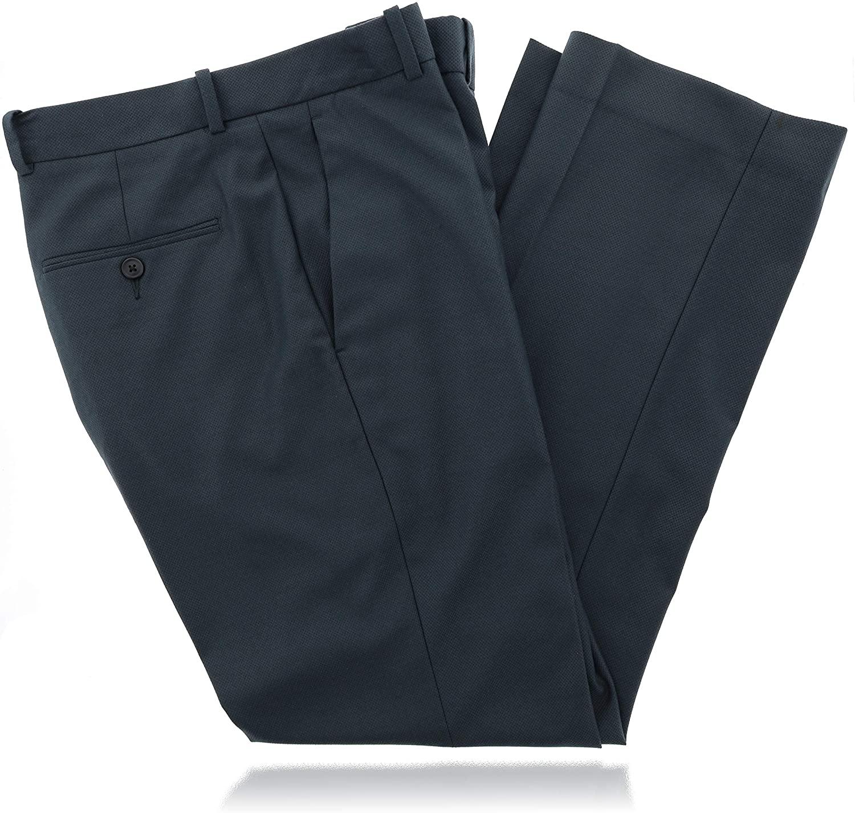 Perry Ellis Men's Stretch,Textured Flat Front Dress Pant