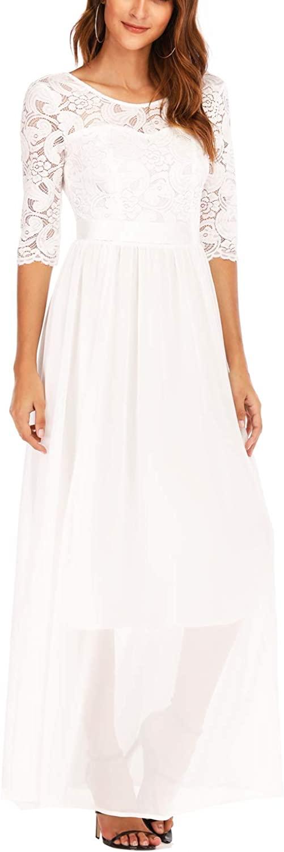 kooosin Women's Plus Size A-Line 3/4 Lace Sleeves Chiffon Long Formal Evening Party Maxi Dress