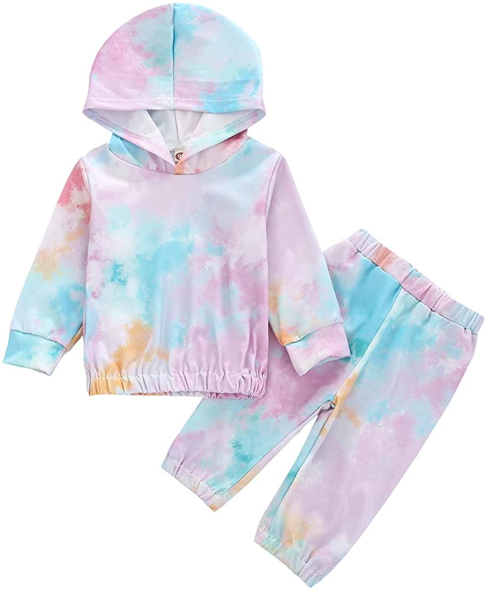 2Pcs Infant Baby Girl Clothes Set Tie Dye Hoodie Long Sleeve Sweatshirt Elastic Waist Pants Outfit Sets (Blue, 18-24 Months)