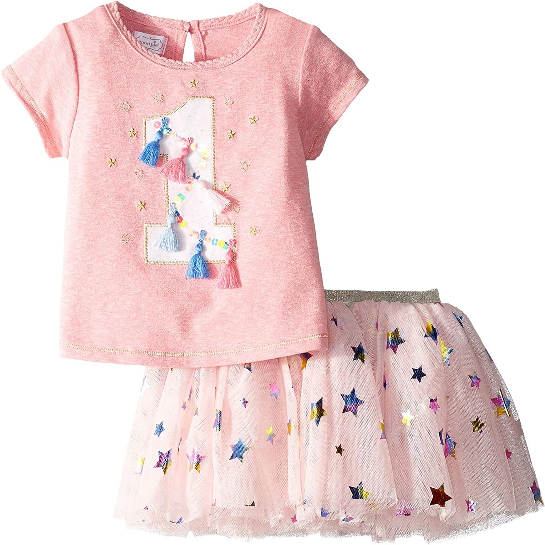 Mud Pie Baby Girls One Birthday Skirt Set (Infant)