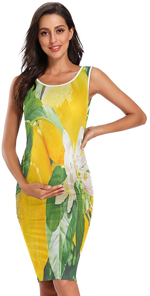SLHFPX Lemon Tree and Flowers Maternity Dresses for Women Casual Pregnancy Dresses Bodycon Mama Mommy