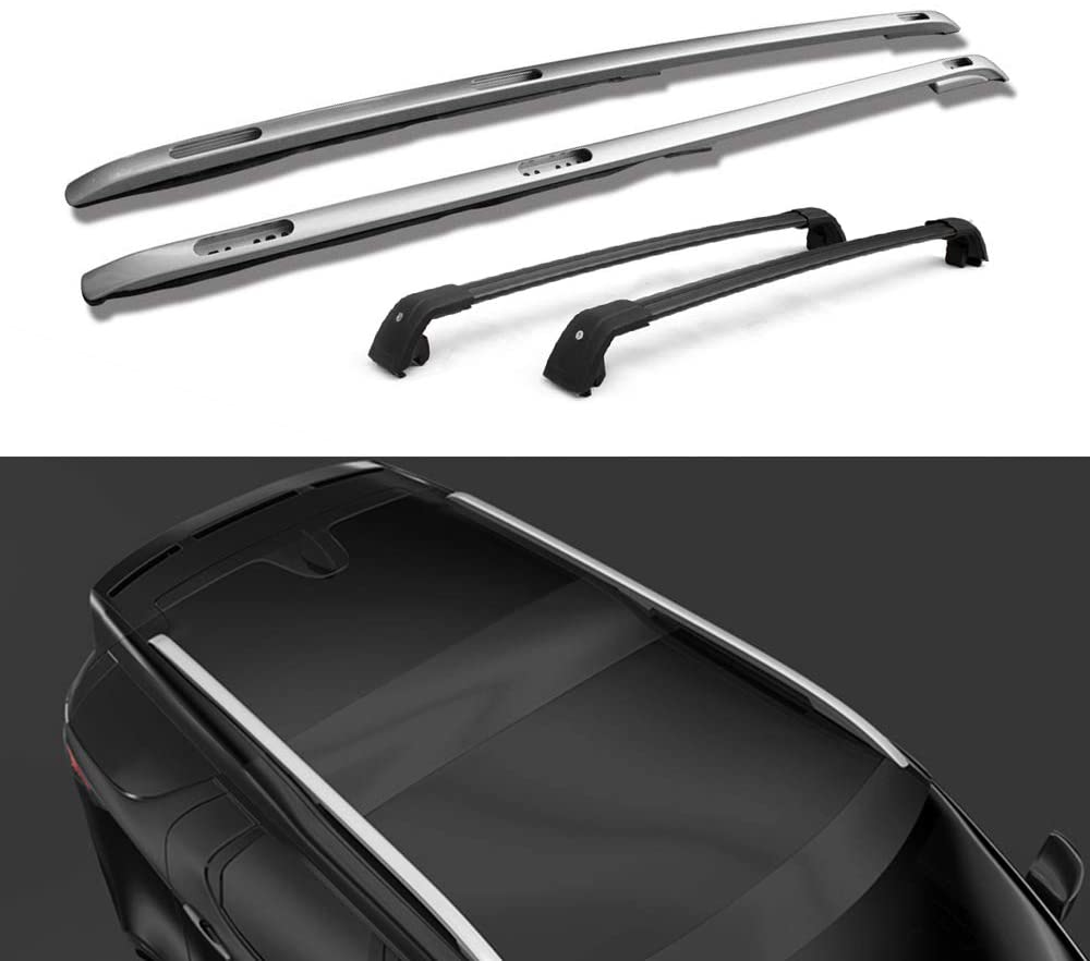 Lequer 4PCS Roof Racks Crossbars Kit Fits for Land Rover Discovery 5 L462 2017 2018 2019 Baggage Carriers Luggage Rail Side Bar Cross Bars-Silver