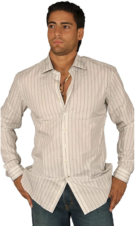 Arbitrage Mens White Button Down Dress Shirt Grey Stripes