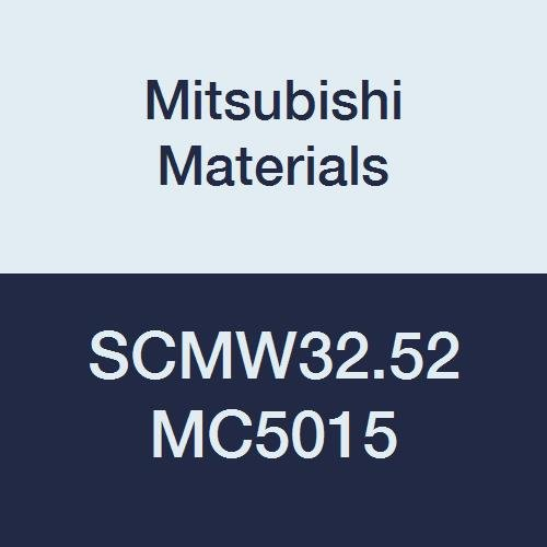 Mitsubishi Materials SCMW32.52 MC5015 Coated Carbide SC Type Positive Turning Insert with Hole, Unstable Cutting, Square, 0.375