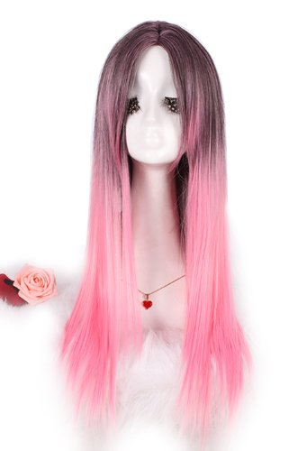 L-email Womens Harajuku Cosplay Wig Pink Blend Grey