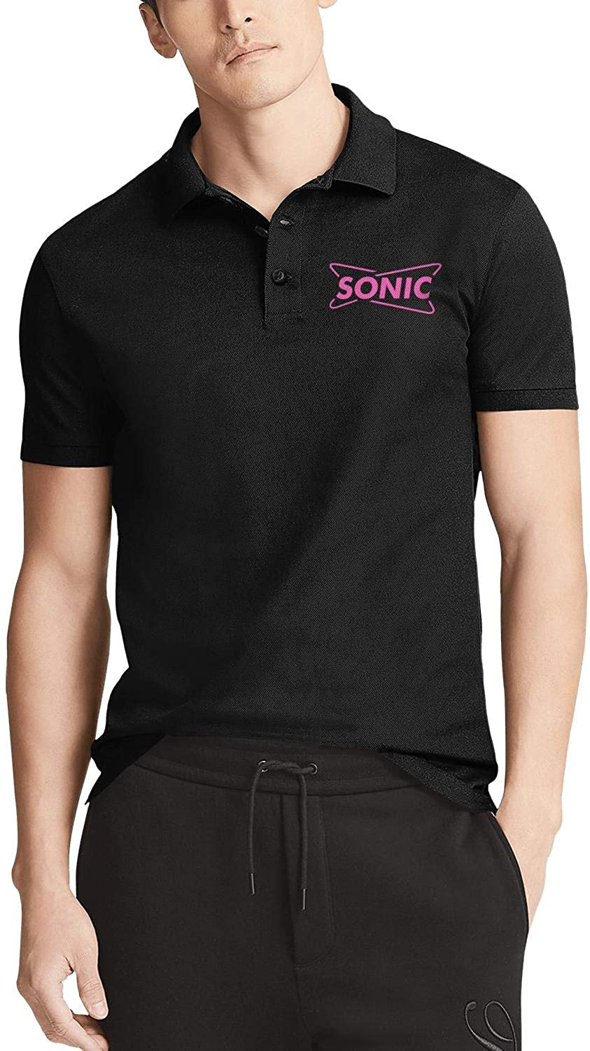 Men Black Short Sleeve Collared Polo T-Shirt Sonic-Drive-in-America-Flash-Gold- Quick Dry Buttons Tee Tops