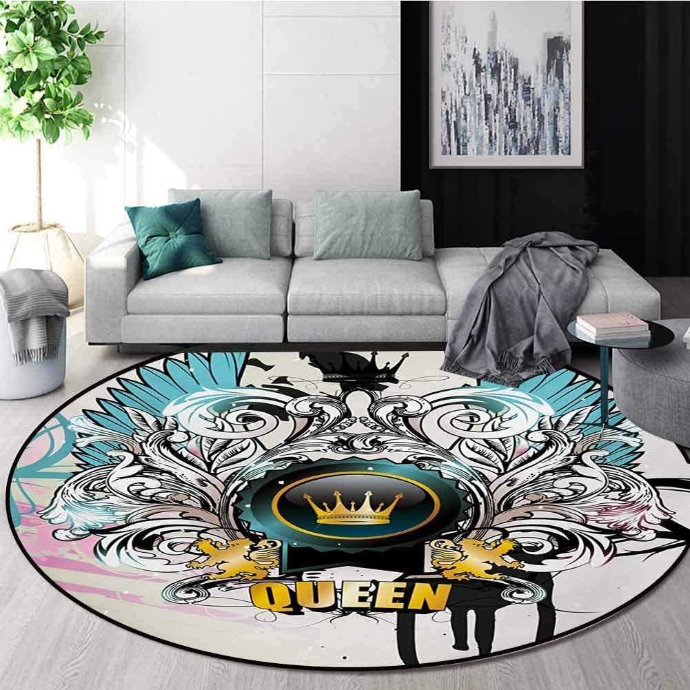 RUGSMAT Queen Non-Slip Area Rug Pad Round,Artistic Design Arms Shield with Crown Wings and Victorian Floral Elements Imperial Protect Floors While Securing Rug Making Vacuuming,Round-51 Inch