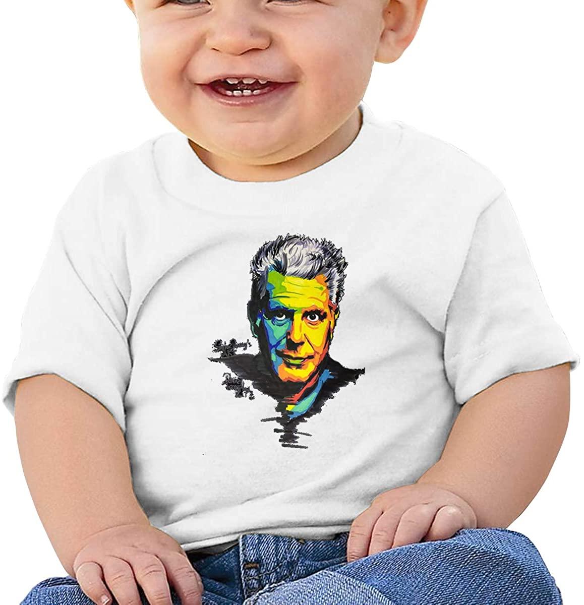 6-24 Months Boy and Girl Baby Short Sleeve T-Shirt Anthony Bourdain Original Minimalist Style White