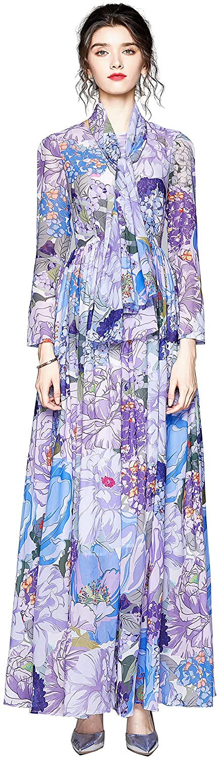 DOVWOER Women's Floral Print Casual Maxi Dress A-line Party Long Dresses