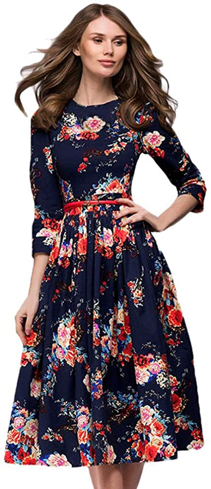 Womens Dresses Women's 3/4 Sleeve Floral Printing Long Sleevel Retro Party Long Maxi Dress