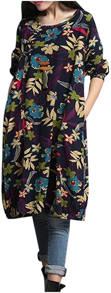 Mikilon Women's Flowers Floral Crew Neck Long Sleeve Fall Casual Tunic midi Dress with Pockets
