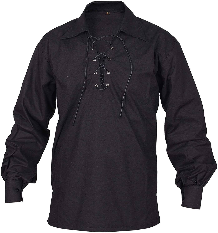 Black Jecobite Traditional Ghillie Kilt Shirt
