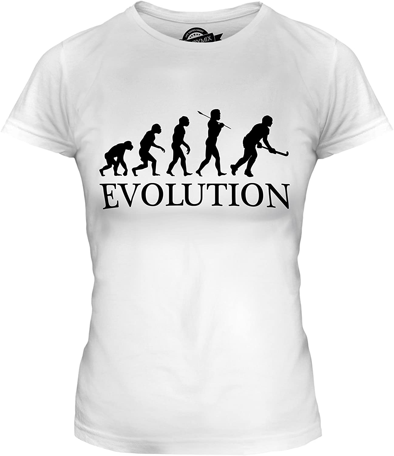 CandyMix Womens Hockey Evolution of Man T Shirt Fitted T-Shirt Top