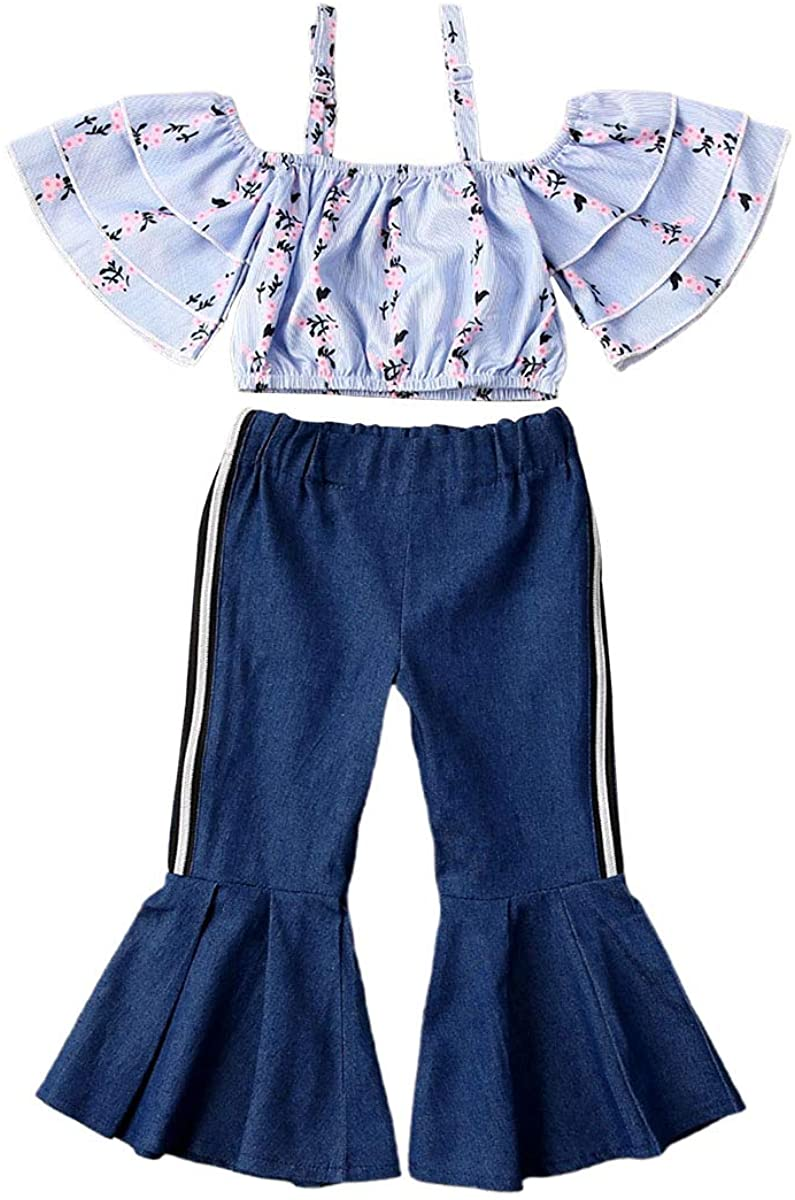 2PCS Toddler Baby Girls Off Shoulder Top + Floral Bell-Bottoms Pants Outfit 1-6 Years