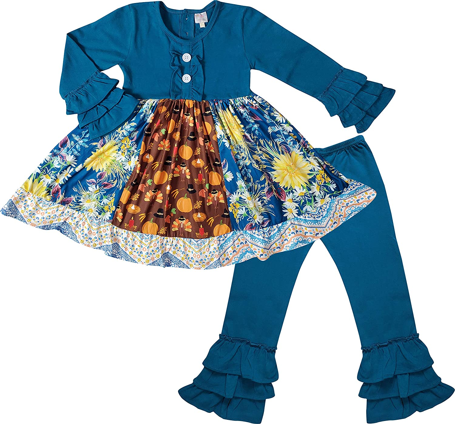 Boutique Clothing Girls Fall Colors Halloween Thanksgiving Outfit - Long Sleeves Top Pants Set