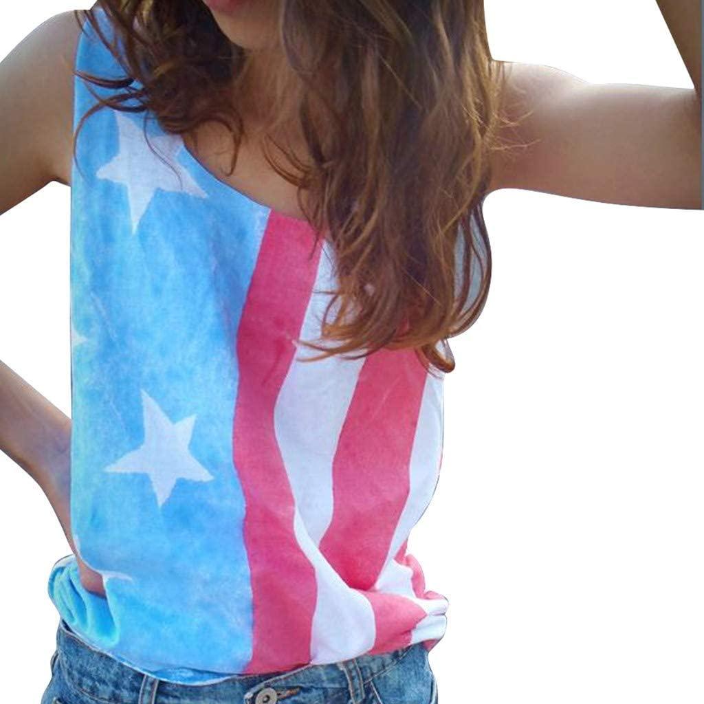 4Th of July Shirts for Women American Flag Tank Top Women Sleeveless Patriotic Stripe Print Vest Vickyleb