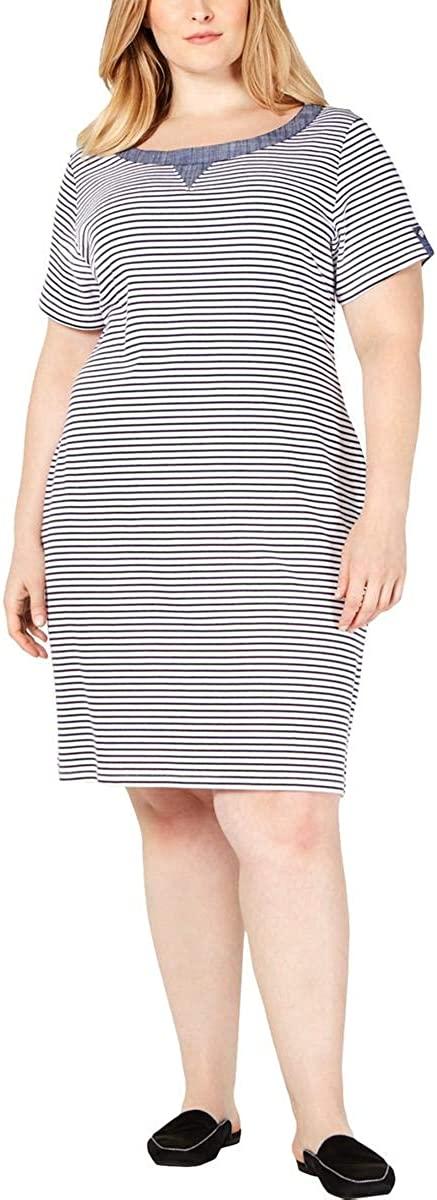 Karen Scott Sport Womens Plus Shirt Striped Dress